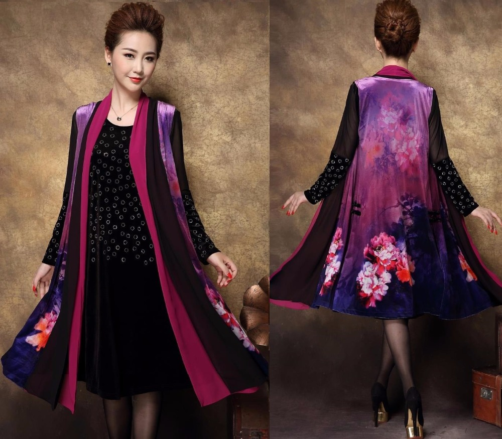 2016Autumn plus size mother party Dress+vintage print sleeveless trench  China style aristocratic temperament XXXLXXXXL 9bf2c81ca6
