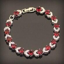 Rojo granate 925 pulseras de plata para mujer excelente joyería de plata esterlina Lenth 7 + 1 pulgadas caja de regalo libre y el envío gratis