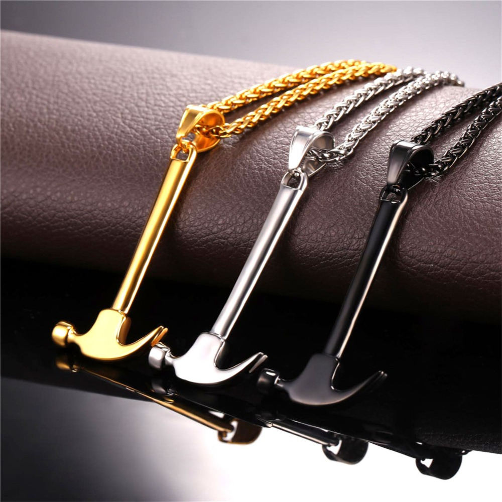 U7 Tool Hammer Shape Pendant Necklaces Vintage Punk Gold Silver Stainless Steel Necklace For Men Jewelry Party Rock Gifts P1177 in Pendant Necklaces from Jewelry Accessories