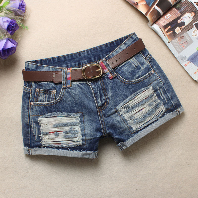 Summer Women Hole Denim Shorts Fashion crimping Jean Shorts Low waist Shorts Without Belt