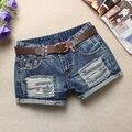 Verano de Las Mujeres Pantalones Cortos de Mezclilla Agujero que prensa De Moda Jean Shorts cintura Baja Pantalones Cortos Sin Cinturón