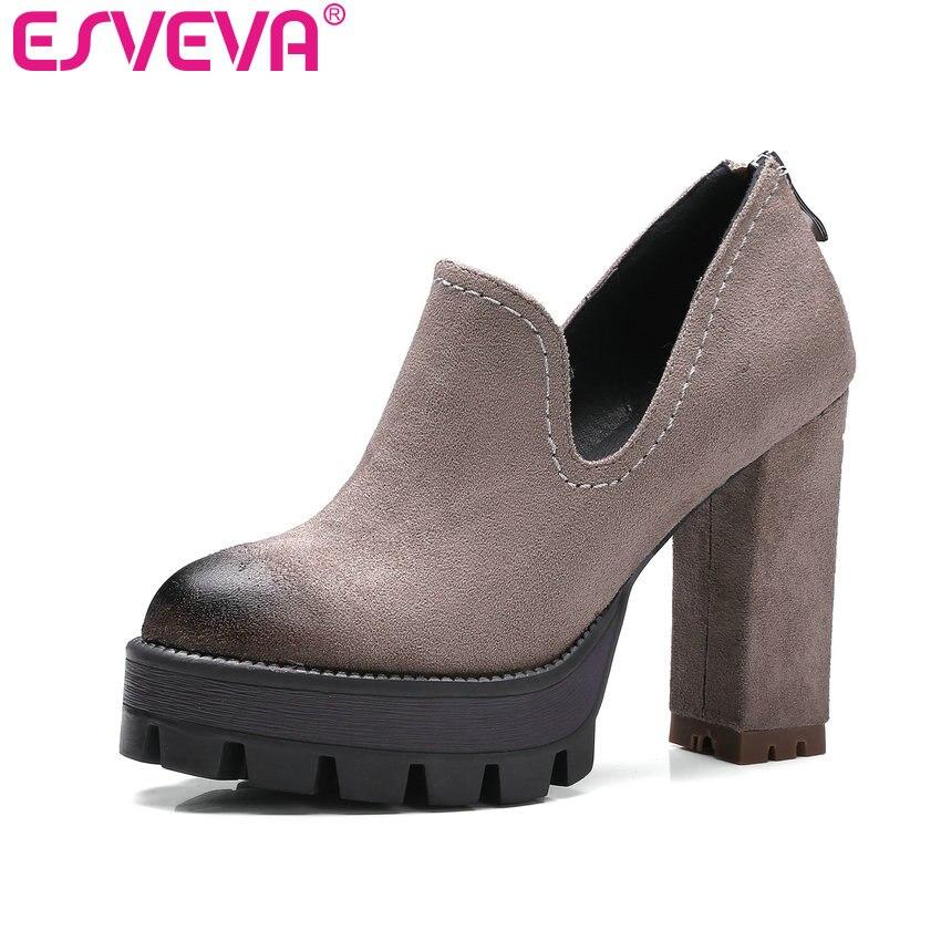 ESVEVA 2017 Platform Western Style Zipper Women's Wedding Shoes High Heel Women Pumps Ladies Square Heel Pumps Big Size 34-42