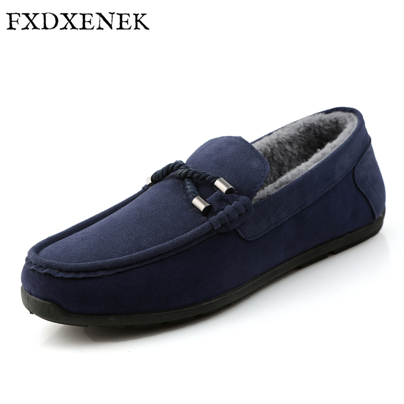 FXDXENEK Winter Fur Men Loafers 2017 New Casual Shoes Slip On Fashion Drivers Loafer Flock Moccasins