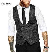 Новый британский стиль тонкий шерстяной ткани двубортный куртка без рукавов жилет мужской костюм жилет Для Мужчин's Вязаные Жилеты для женщин