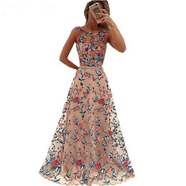 Design Kleider | Luxus Landebahn Frauen Floral Stickerei Blume Kleid Sommer Mesh