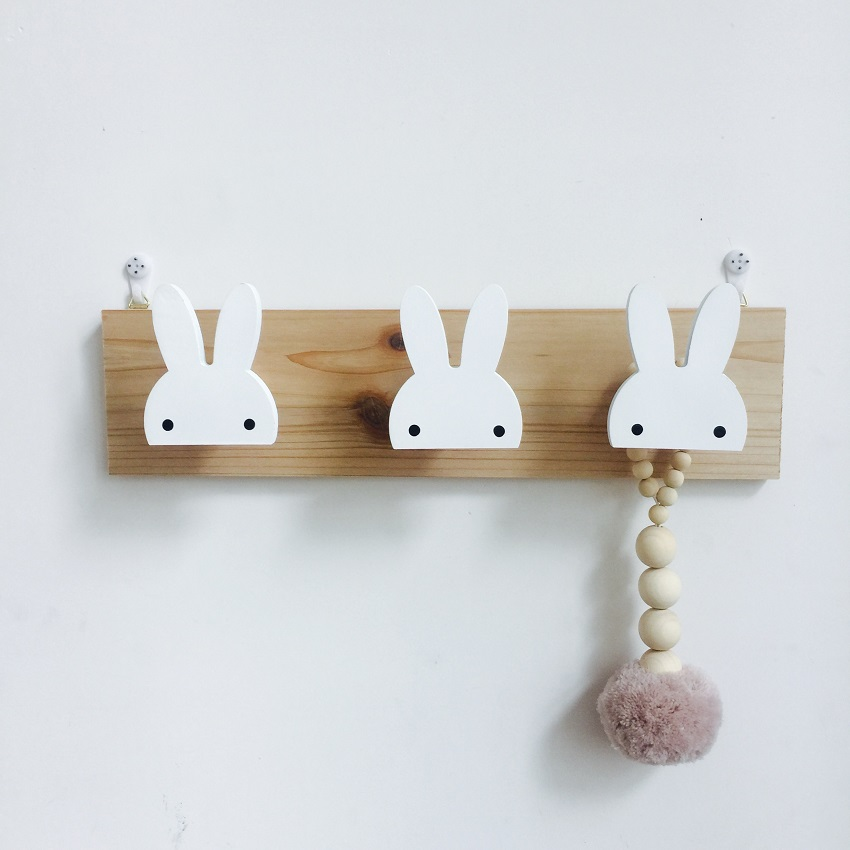 Cute Wooden Bunny Hook Rail For Kids Room Wall Decorate