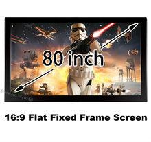 Белый матовый 3D проектор Экран 80 «по диагонали 16:9 4 К Ultra HD Ready плоский фиксированной Рамки Проекционные экраны с черным velevt