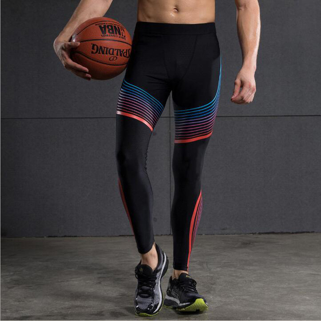2017 Compress Gymming Leggings Men  Fitness Workout Leggings Summer Sporting Thin Strip Fitness Male Long Pants