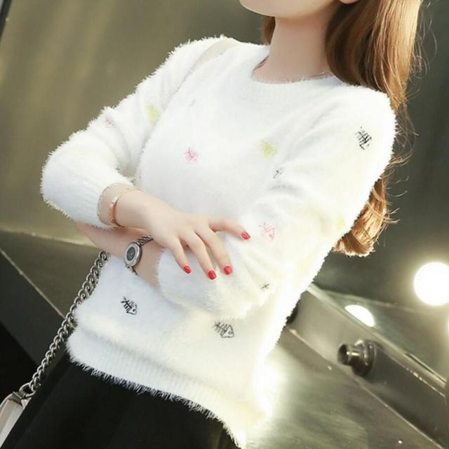 Women Sweater Fall Autumn Winter Fashion Design Animal Colorful Fish Embroidery Pullovers Female Warm Soft Faux Mohair Sweater