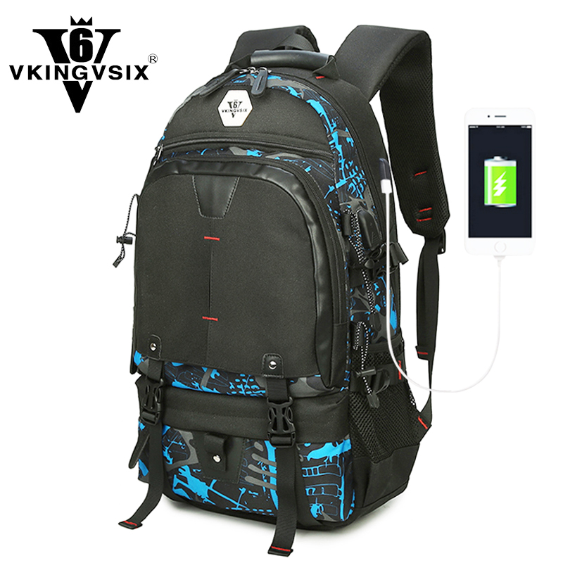VKINGVSIXV6 14-17 Waterproof laptop backpack usb Travel school bags for teenagers Men Women Printing mochila bagpack schoolbag adventure time finn and jake school backpack for children teenagers men women bag mochila laptop knapsack bags
