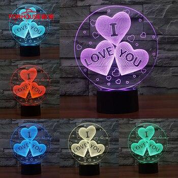 3D Lampu LED Touch Switch Meja Malam Lampu Hati Hati Banyak Warna Kartun Acrylic Ilusi Kamar Suasana Pencahayaan untuk Cinta Hadiah