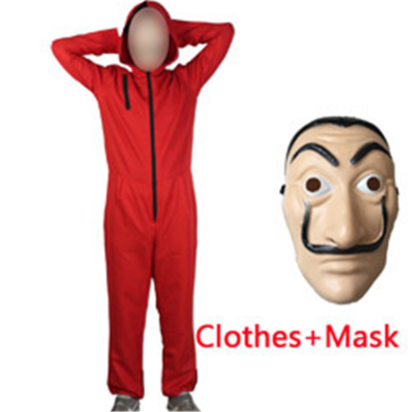 Salvador Dali Movie Costume Adult Men Women Heist The House of Paper La Casa De Papel Cosplay Halloween Costumes with Face Mask