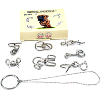 Chinese Metal Puzzle Ring Opening Solution Set Yakuchinone Casual Intelligence Toys Manipulate To Separate 8pcs