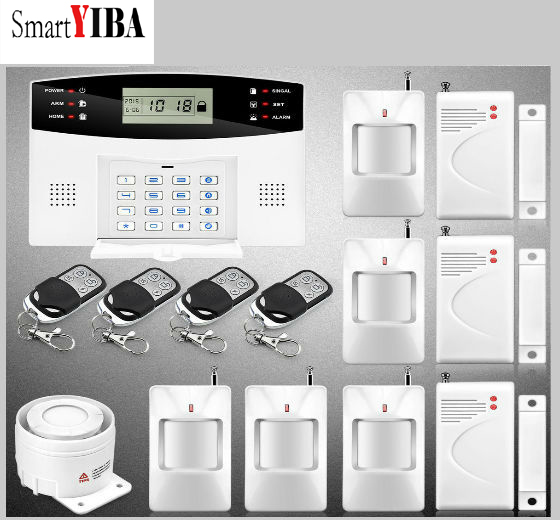 SmartYIBA 433MHz PIR Motion Sensor Door open Detector GSM Security Alarm Voice Prompt LCD Display Wired Siren Alarm Kit lcd display 433mhz wireless alarm system sms gsm pstn dual network home security pir motion sensor door open detector smoke