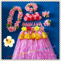 1sets/lot Hawaiian Luau Hula Skirts Grass Hibiscus Flowers Birthday Tropical Party Decorations Favors Supplies