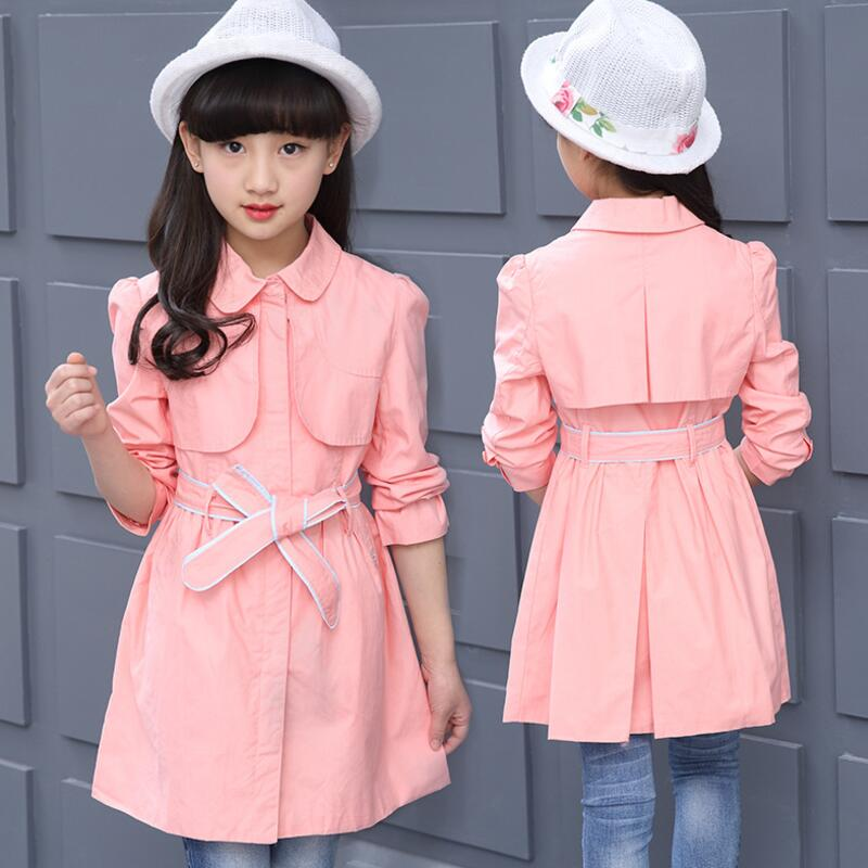 High Quality Fashion 2017 Autumn Teenage Girls Trench Coat Children Clothing Baby Girl Cotton Jacket Outwear With Belt JW2552