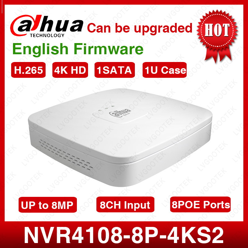 Dahua NVR NVR4108-8P-4kS2 8CH NVR 8MP Smart 1U 8PoE 4K&H.265 Lite Network Video Recorder Full HD 1080P Recorder With 1SATA