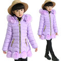 Children Winter Coats for Girls Overcoat 2016 New Kids Long Thicken Warm Jacket Outwear Hooded Fur Collar Girl Clothes