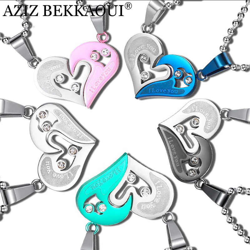 AZIZ BEKKAOUI Heart Couple Necklace 316L Stainless Steel Lovers Necklaces & Pendants Broken Heart Pendant Engraved Name Necklace