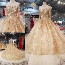 Vestido de noiva 2018 A Noiva De Luxo vestido de Baile Completo Manga Boat Neck Tribunal Trem Clássico Bordado Princesa Vestido De Novias