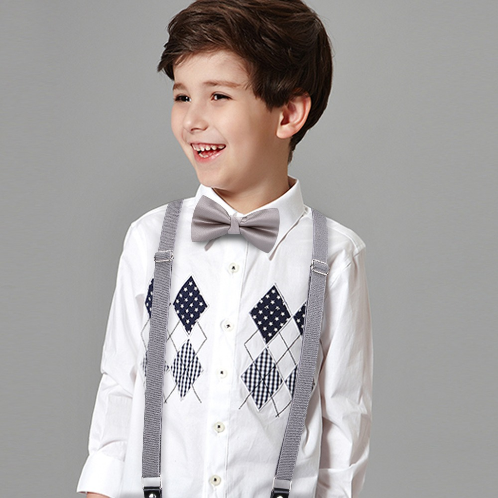 Boy Girl Silver Gray Man's 6 Clips Suspenders Bowtie Set Polyester Y-Back Braces 7-14 Years Bow Tie Adjustable Elastic BH-0024