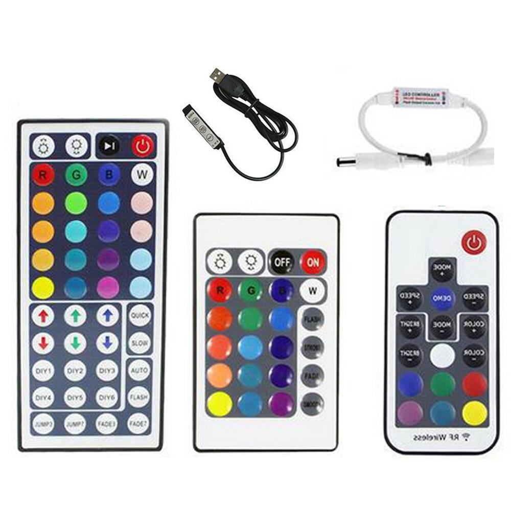 USB RGB LED Controller 24key 44key 17key RF Wireless Mini Remote Controller for RGB 3528 5050 Led Strip tape lighting 5v 12v ring 5v 16 5050 rgb led with integrated drivers module for arduino led lighting strip