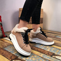 Round Toe Lace Up Casual Flats Leather High Quality Shoes Woman 2017 Out-doors Platform Shoes Fur Warm Shoes Zapatos Mujer 39