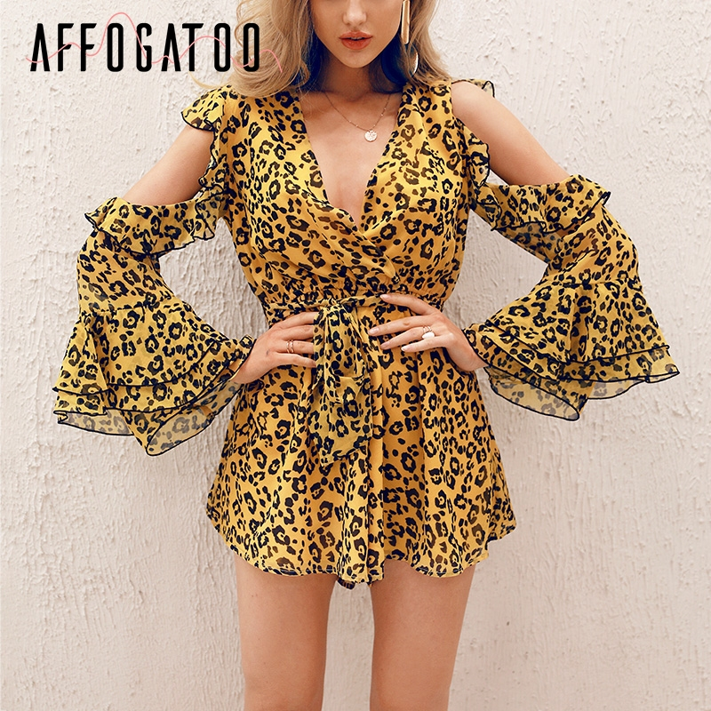 Affogatoo Sexy v neck leopard print   jumpsuits   women Cold shoulder ruffle summer short rompers Casual holiday beach playsuit 2019