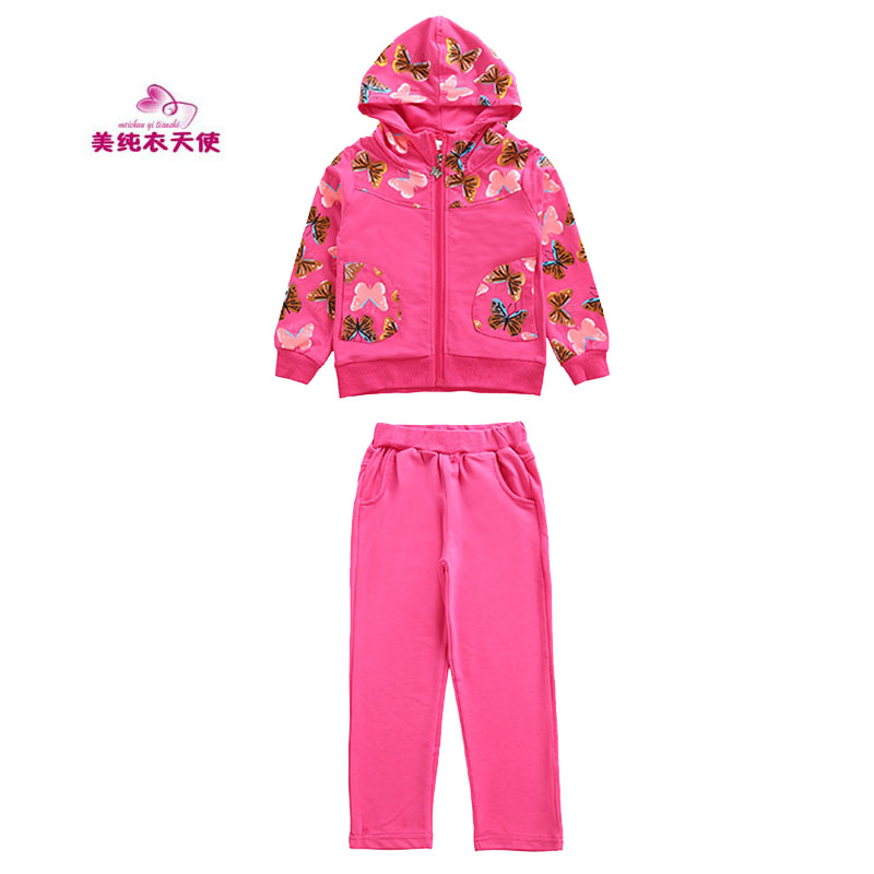 New Spring Autumn Girls Sports Suits Children Clothing Kids Sportswear Cotton Girl Hoodies Printing Tracksuits 5 7 9 11 13 Years