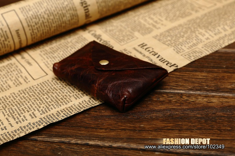 Oil Waxed Dark Brown Credit Card Wallet Card Bag Coin Wallet man and women (2)