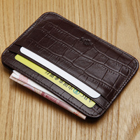 Genuine Leather Cowhide Thin Wallet Crocodile Pattern Mini Coin Purse Zipper Credit ID Card Holder Small
