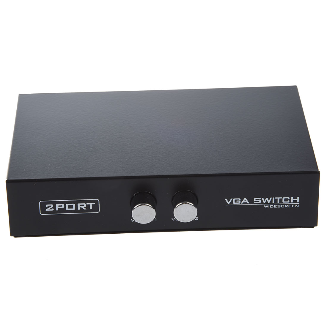 Round Press Button Two Way VGA Switch Splitter Black