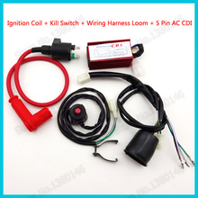 Racing Ignition Coil Wiring Loom Harness Kill Switch 5 Pin AC CDI For 50cc-160cc Pro Pit Dirt Bike