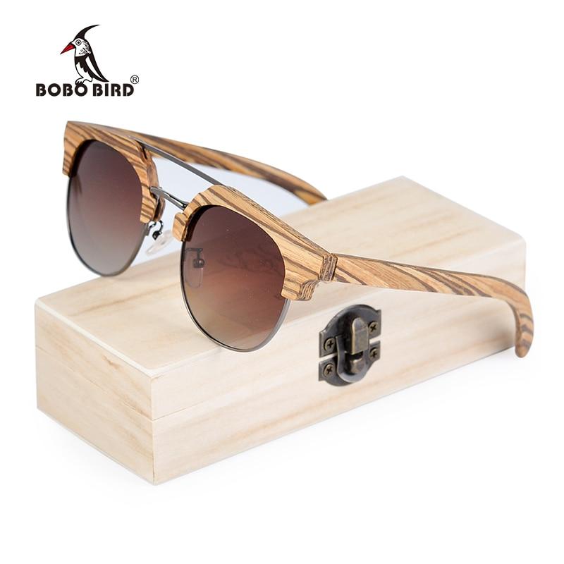a78b73178fd7c BOBO PÁSSARO Zebrawood Madeira Óculos de Sol Mulheres Polarizada Óculos  Vintage Retro UV400 único occhiali rotondi