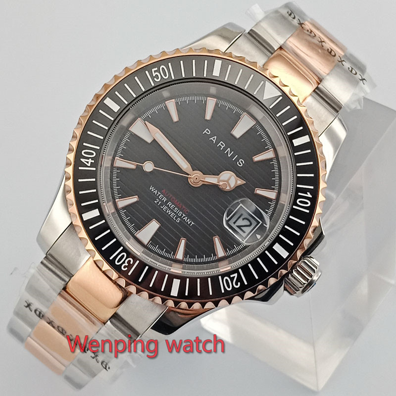 Luxury 41mm Gold plated Parnis watch black dial sapphire glass luminous ceramic bezel Automatic wristwatch men