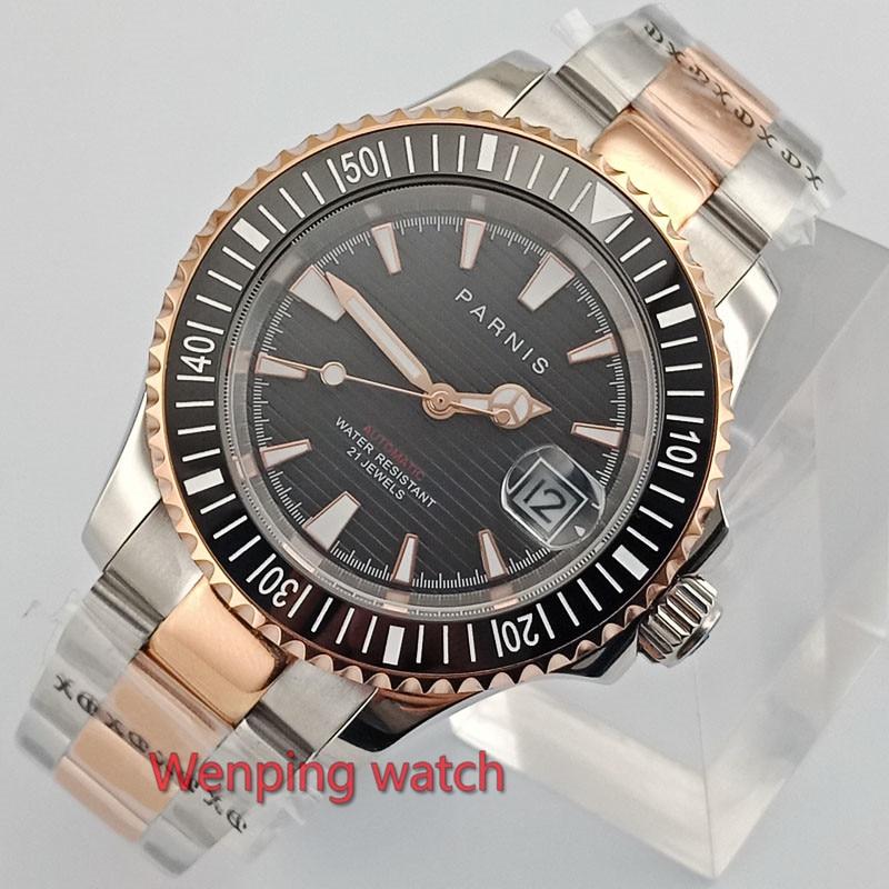 고급 41mm 골드 도금 parnis 시계 블랙 다이얼 사파이어 축광 세라믹 베젤 자동식 손목 시계 남성 e2630-에서기계식 시계부터 시계 의  그룹 1