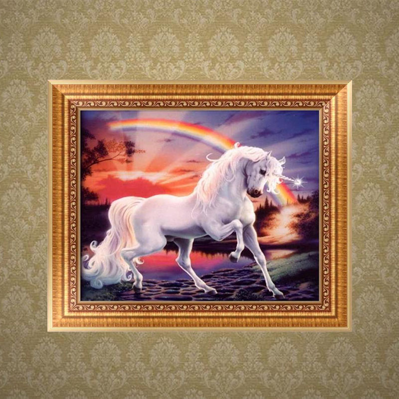 DIY 5D Rainbow Horse Diamond Embroidery Painting Cross Stitch Craft Home Decor-P101