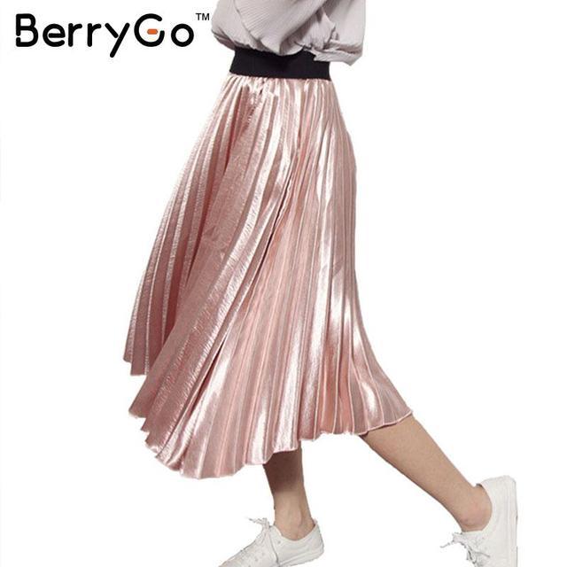 BerryGo 2016 otoño invierno elástico de cintura alta falda Ocasional suave rosa acordeón falda plisada Todo-Fósforo de satén negro falda de las mujeres