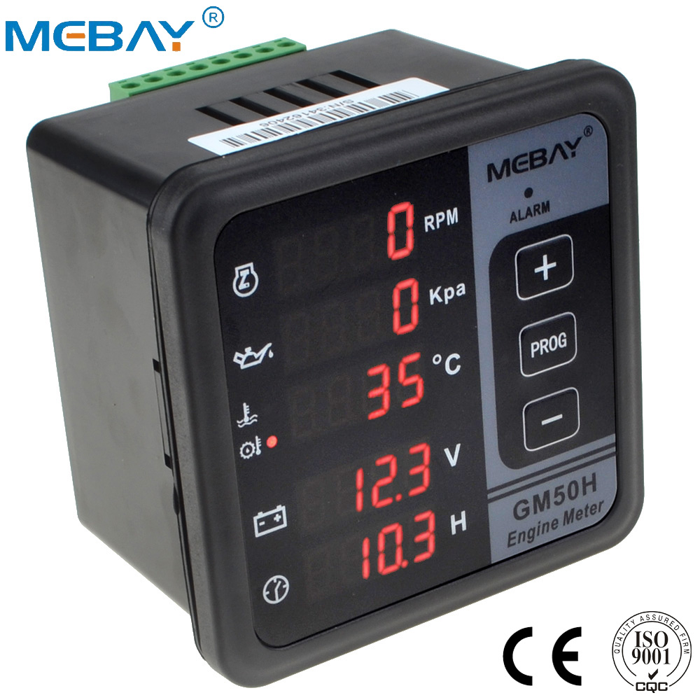 GM50H Engine Digital Multi functional Meter Diesel Engine Monitor with Oil Pressure Gauge Rotating Speed Oil