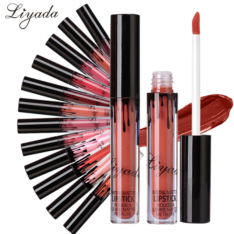 2017 New Liyada Matte Lip Gloss Liquid Lipstick+Lips Pencil Makeup Lasting Waterproof Kilie Lipsticks Cosmetics Kit Batom