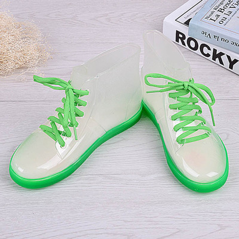 Clear,7.5 Tiwcer Jelly Shoes Rain Boots Ladies Shoes Women Fashion Womens Flat Transparent Martin Boots Water Shoes Waterproof Shoe