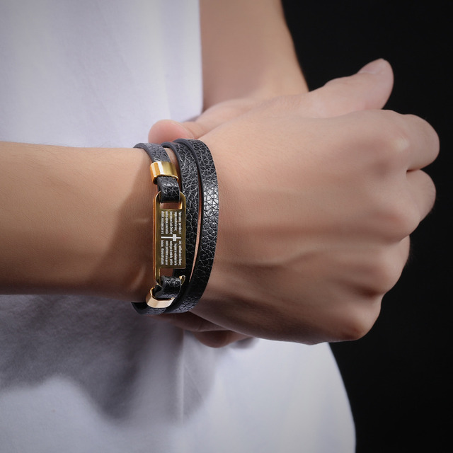 MIGGA New Cross Wrap Multilayer Men`s Stainless Steel Bracelet as Gift Student Two Color for Choose