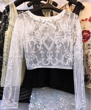 chiffon shirt sequins beads vest/women sequined Tops/beaded Tees/shiny shirts/women Sequins Camis/women Sequined Bottoming shirt