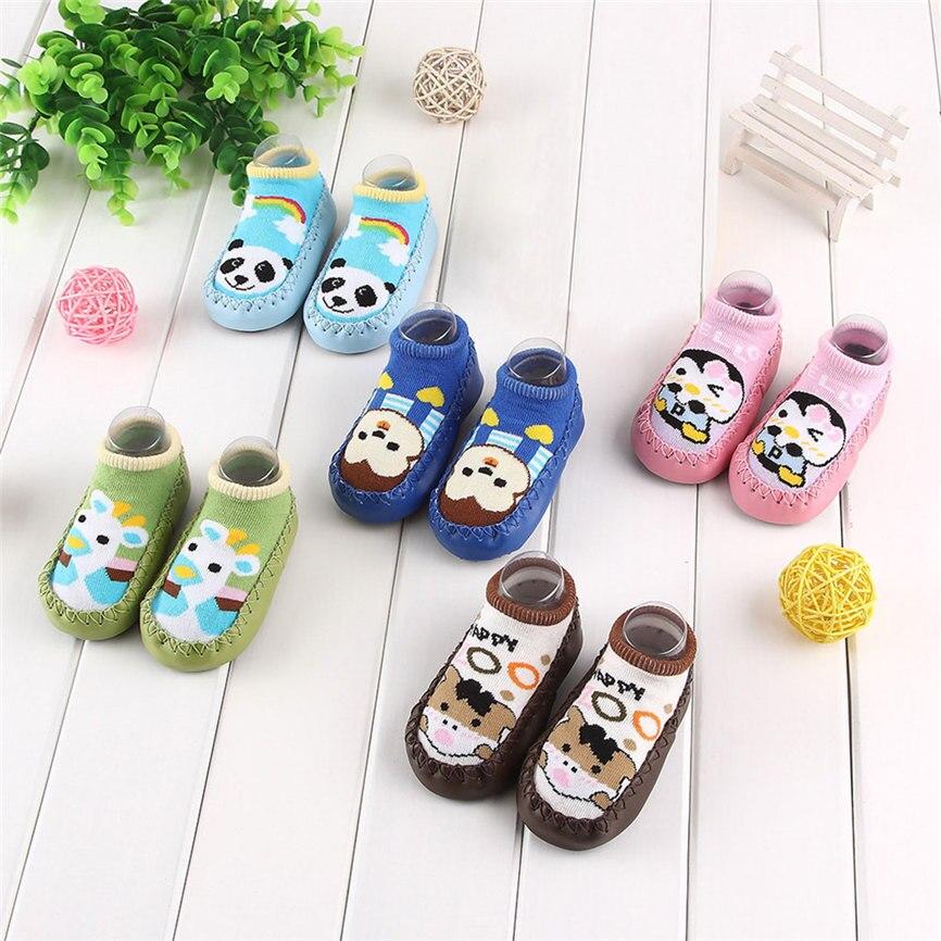 2018 New Baby Socks Cute Cartoon New Born Newborn Baby Girls Boys Anti-Slip Socks Slipper Shoes Stocking For 0-24M Dropshipping