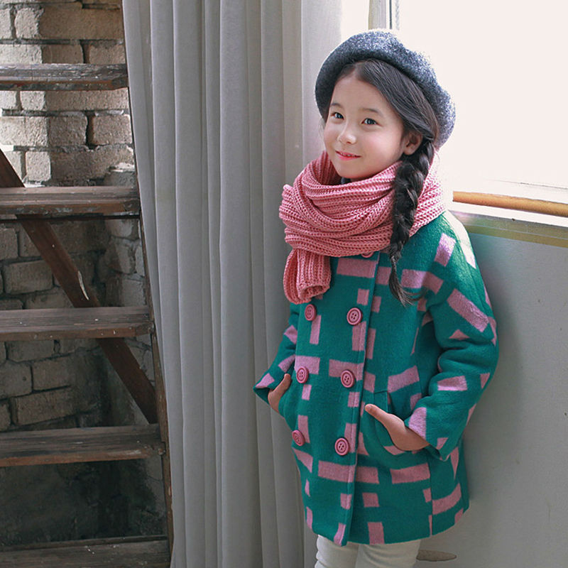 Fashion Girls Winter Outerwear Wool Coats With Stitching Green Pink Color Kids Designer Winter Jackets For Children Clothes dickie пожарная машина 36см 3308371