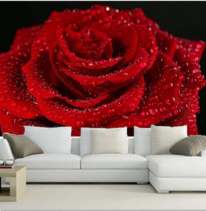 Beautiful Romantic Bedroom Design: Custom 3D Murals,Beautiful Romantic Red Roses,beads Papel