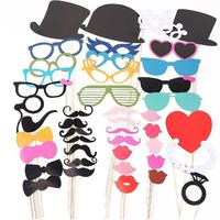 44 In 1 DIY Glasses Moustache Red Lips Bow Ties Hats On Sticks Wedding Birthday Party