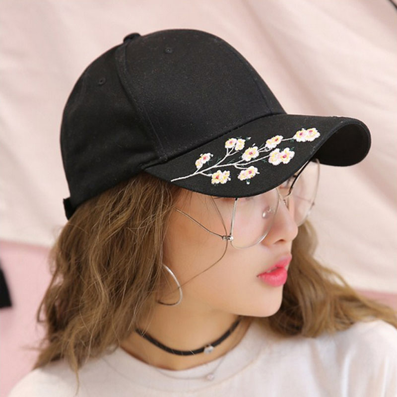 Apparel Accessories Women's Baseball Caps Responsible Summer Fashion Plum Blossom Embroidery Colorful Flower Women Sun-shading Baseball Cap Women Hip Hop Girl Snapback Cap Gorras Low Price