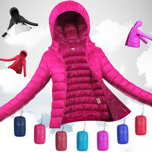 Ultra Light Women's Down Jackets Fashion Slim Hooded Down Coats Woman White Duck Down Padded Winter Parkas JK-608