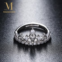 1 Pcs New White Gold Color Mosaic Crystal Crown Open Rings Women Wedding Engagement Jewelry(China)